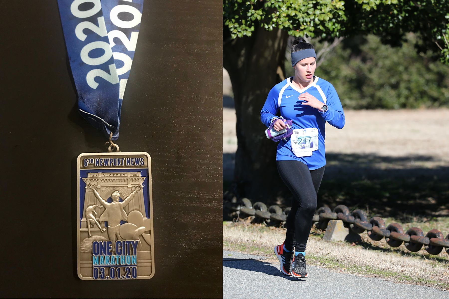 Vallerie running in the Newport News One City Marathon and the medal she so richly deserved